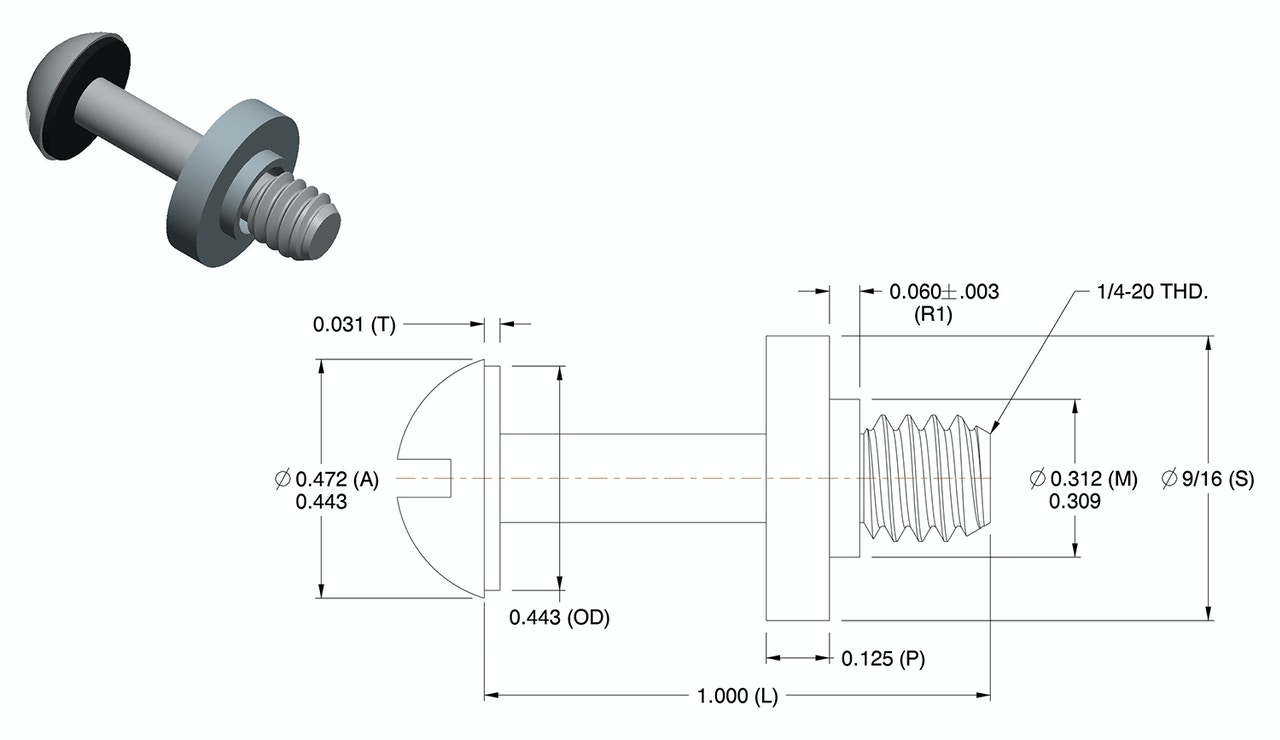 CAD model & drawing of round head captive screw with self-sealing washer & retainer