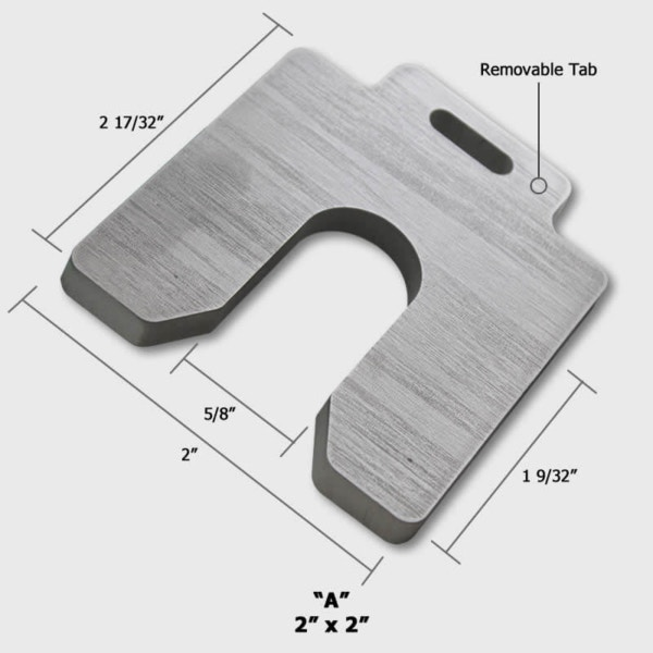 304 Thick Slotted Shims 2x2