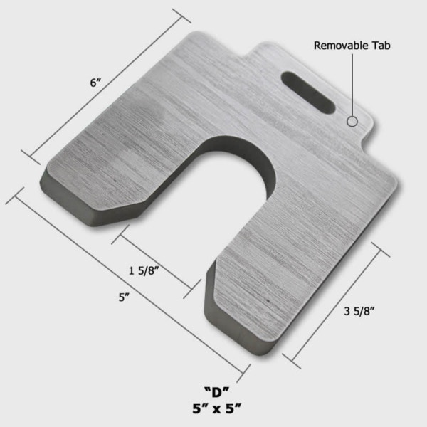 304 Thick Slotted Shims 5x5