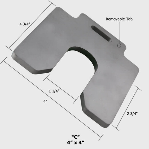 A36 Steel Thick Straight Leg Slotted Shims 4x4