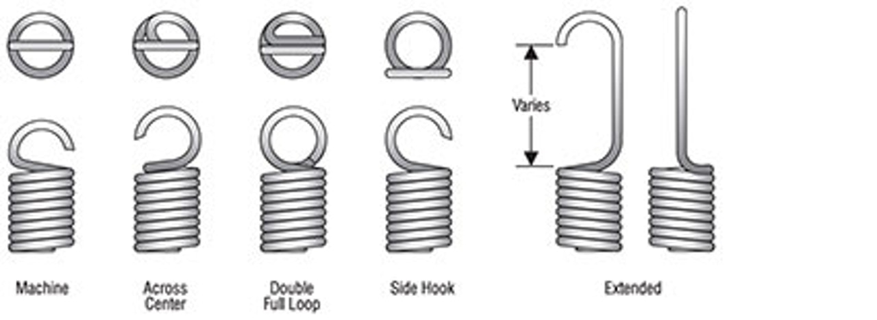 Extension spring end configurations