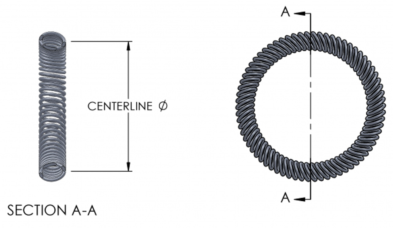 Slant coil spring centerline diagram
